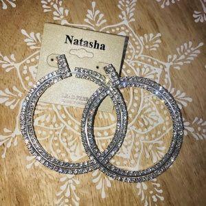 Natasha glittery rhinestone hoops